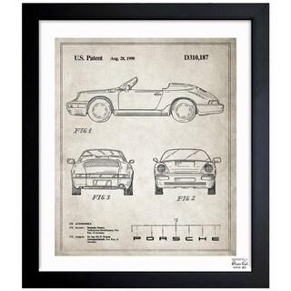 Oliver Gal 'Porsche 911, 1990 - Gray' Framed Blueprint Art