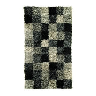 Indian Hand-woven Bricks Grey Rug (5'6 x 7'10)