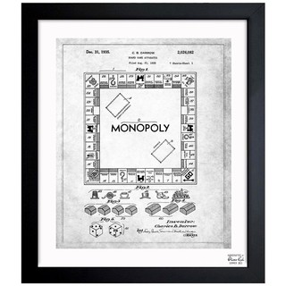 Oliver Gal 'Monopoly 1935 - Noir' Framed Blueprint Art