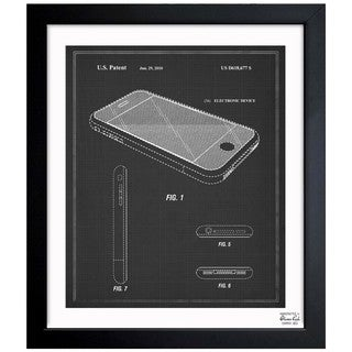Oliver Gal 'Apple Iphone, 2010 - Noir' Framed Blueprint Art