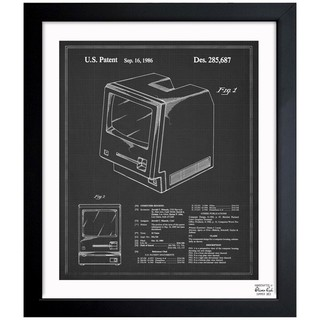Oliver Gal 'Apple Macintosh 128K 1986 - Noir' Framed Blueprint Art