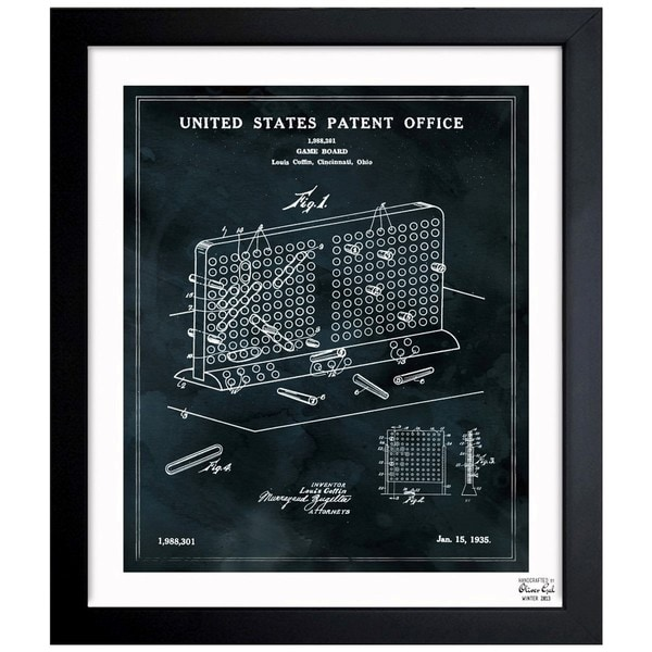 Oliver Gal 'Battleship Game Board, 1935' Framed Blueprint Art