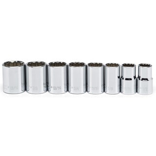 "Crescent CSAS0 1/2"" Drive 12 Point SAE Impact Socket 8 Piece Set"