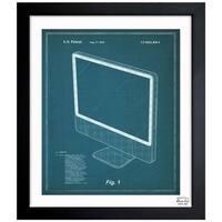 Oliver Gal 'Apple iMac, 2010' Framed Blueprint Art - Blue