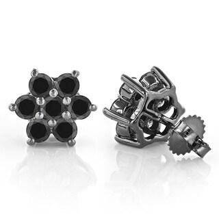 Luxurman 14k Gold 3ct TDW Black Diamond Stud Earrings