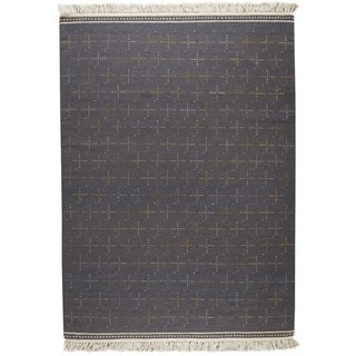 M.A.Trading Indian Hand-woven Bergen Grey Rug (6'6 x 9'9)