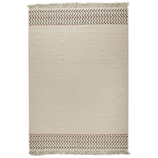 M.A.Trading Indian Hand-woven Valparaiso White Rug (5'6 x 7'10)