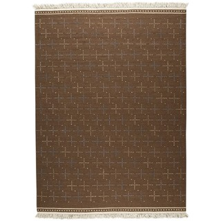 M.A.Trading Indian Hand-woven Bergen Brown Rug (5'6 x 7'10)