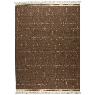 Handmade M.A.Trading Indian Bergen Brown Rug (India) - 5'6 x 7'10