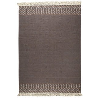M.A.Trading Indian Hand-woven Valparaiso Grey Rug (5'6 x 7'10)