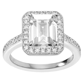 Journee Collection Sterling Silver CZ Emerald Cut Halo Engagement Ring