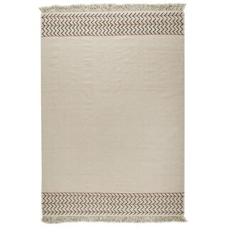 M.A.Trading Indian Hand-woven Valparaiso White Rug (6'6 x 9'9)