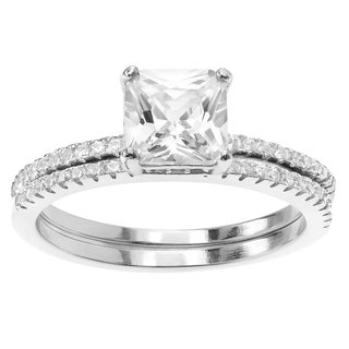 Journee Collection Sterling Silver Cubic Zirconia Square Cut Wedding Ring Set