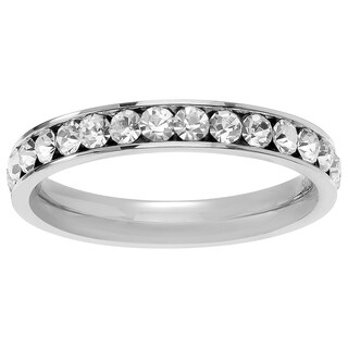 Journee Collection Stainless Steel CZ Birthstone Eternity Band (3mm)