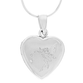 Journee Collection Sterling Silver Diamond Accent Fairy Heart Locket Pendant