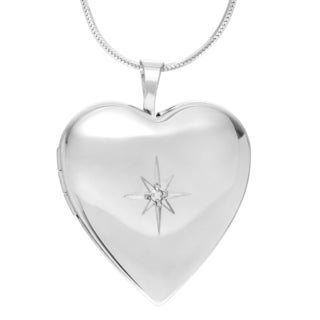 Journee Collection Sterling Silver Diamond Accent Heart Locket Pendant