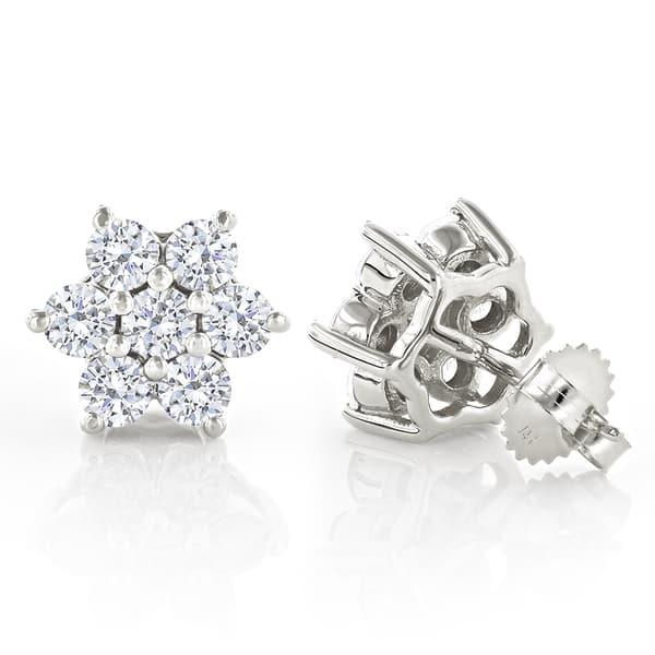 Luxurman 14k Gold 3ct Tdw Unique Diamond Cluster Stud Earrings On Sale Overstock 11535813
