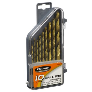Allied International 63501 Titanium Coated Drill Bits 10 Piece Set