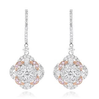 Luxurman 14k Gold 2 2/5ct TDW Designer Flower Cluster Diamond Earrings (H-I, SI1-SI2)