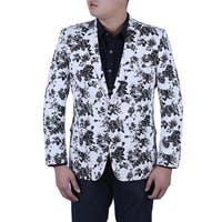 Verno Luca Men's Black and White Flower Printed Slim Fit Italian Style Blazer
