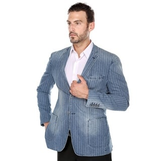 Verno Agnolo Men's Distressed Indigo Pinstriped Denim Slim Fit Italian Styled Blazer