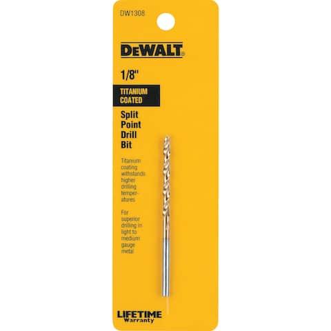 """Dewalt DW1308 1/8"""" Titanium Split Point Drill Bit"""