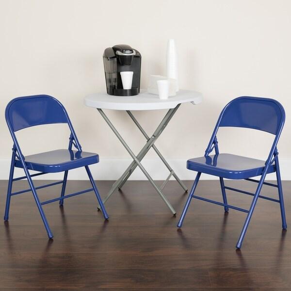 4 Pk. HERCULES COLORBURST Series Triple Braced & Double Hinged Metal Folding Chair