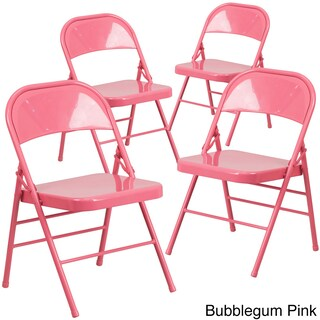 ColorBurst Folding Chair (Set of 4) (Option: Bubblegum Pink)