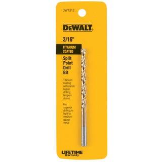 """Dewalt DW1312 3/16"""" Titanium Split Point Drill Bit"""