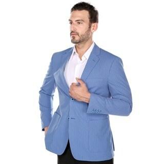 Verno Zanobi Men's Summer Blue and White Textured Pinstripe Slim Fit Italian Styled Blazer (More options available)
