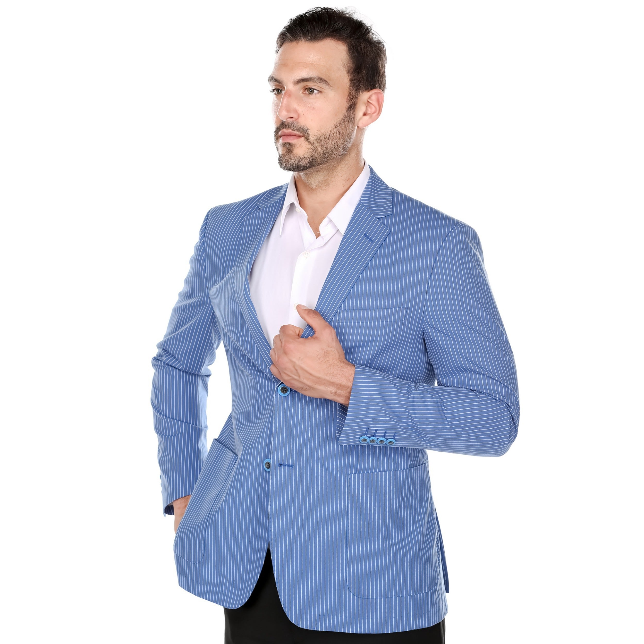 Verno Zanobi Men's Summer Blue and White Textured Pinstri...