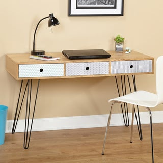 Simple Living Geometric Three Drawer Desk