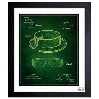 'Hat and Sunglasses' Framed Blueprint Art