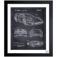 Oliver Gal 'Ferrari F40 1990' Framed Blueprint Art