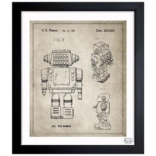 'Toy Robot, 1982 - Gray' Framed Blueprint Art