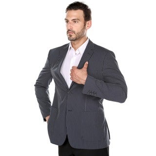 Verno Cristofano Men's Dark Navy and White Textured Pinstripe Slim Fit Italian Styled Blazer