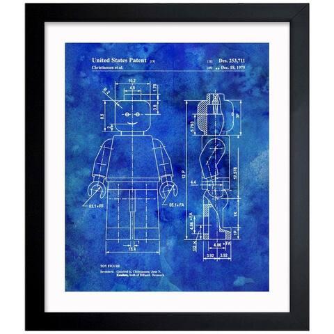 Oliver Gal 'LEGO TOY FIGURE, 1979 Blue' Framed Blueprint Art - Blue