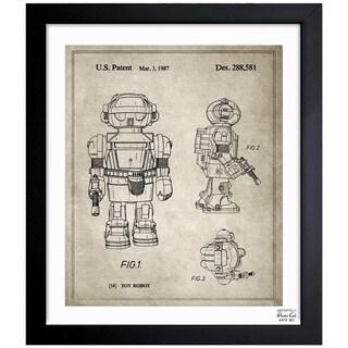 'Toy Robot II, 1987 - Gray' Framed Blueprint Art