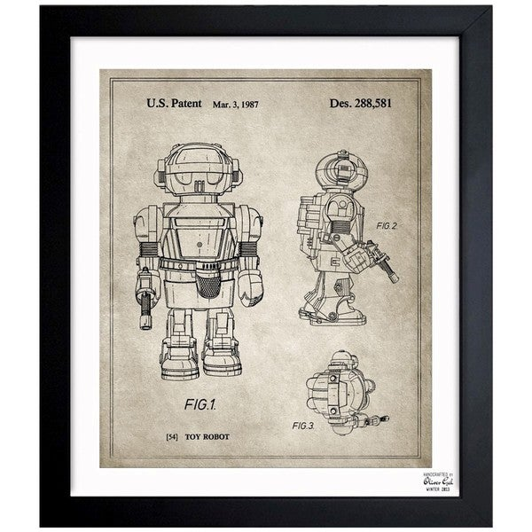 Oliver Gal 'Toy Robot II, 1987 - Gray' Framed Blueprint Art
