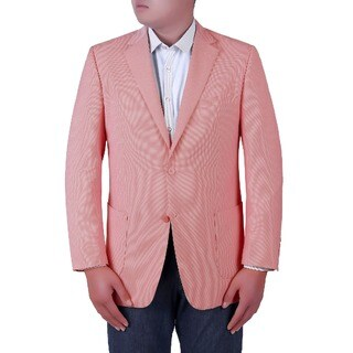 Verno Pagolo Men's Pink Birdseye Textured Classic Fit Italian Styled Blazer