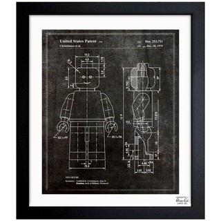 Oliver Gal 'Lego Toy Figure, 1979 - Noir' Framed Blueprint Art