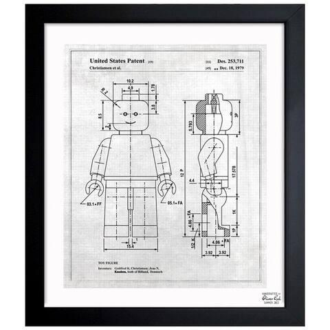 Oliver Gal 'Lego Toy Figure, 1979 - Gray' Framed Blueprint Art