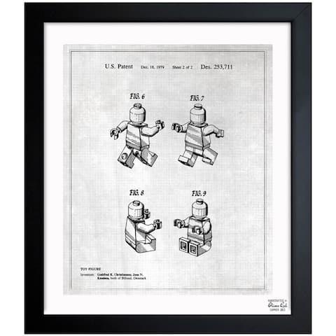 Oliver Gal 'Lego Toy Figure #2, 1979 - Gray' Framed Blueprint Art