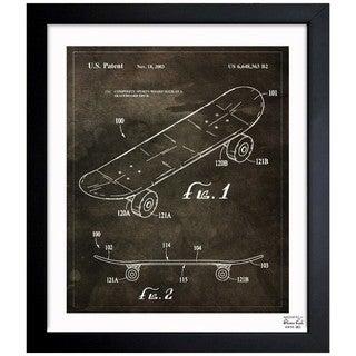 Oliver Gal 'Skateboard, 2003' Framed Blueprint Art
