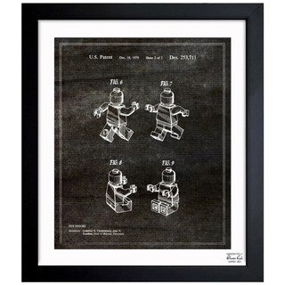 Oliver Gal 'Lego Toy Figure #2, 1979 - Noir' Framed Blueprint Art