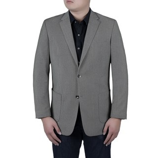 Verno Nanni Men's Grey and Black Birdseye Textured Classic Fit Italian Style Blazer