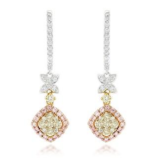 Luxurman 14k Gold 1 2/5ct TDW Diamond Drop Earrings (G-H, VS1-VS2)