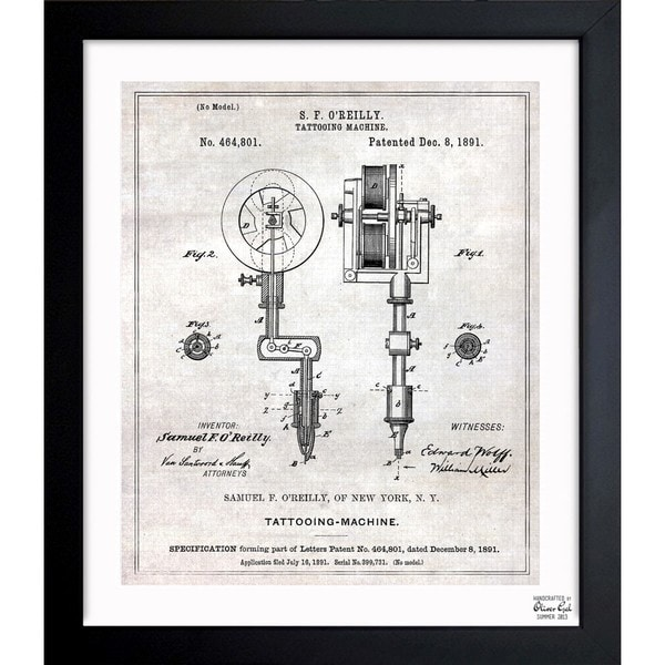 Oliver gal tattoo machine 1891 framed blueprint art free oliver gal x27tattoo machine 1891x27 framed blueprint art malvernweather Image collections