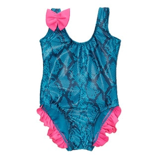 Dippin' Daisy's Infant and Toddler's Blue Snake One Piece Swimdress with Ruffles