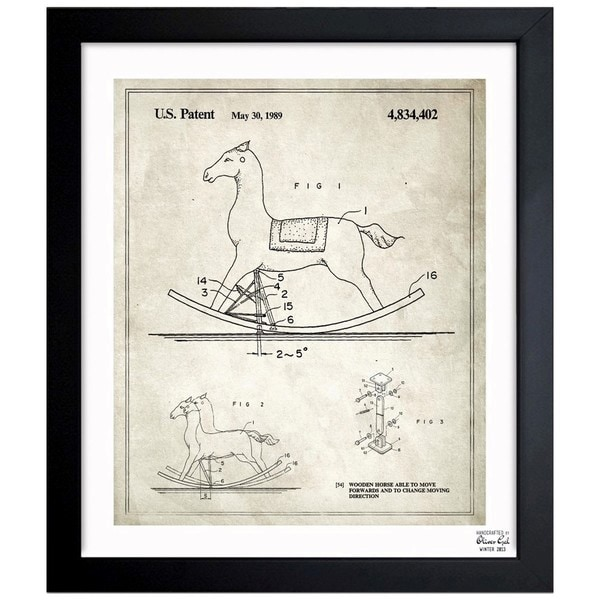Oliver Gal 'Wooden Horse, 1989' Framed Blueprint Art